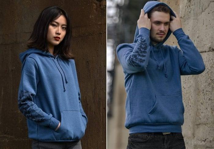 Ellie blue hoodie modeled by a woman and a man