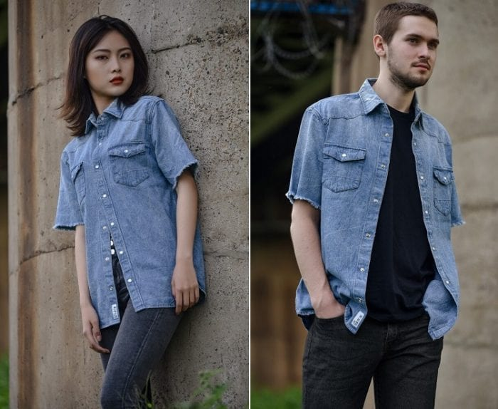 Ellie blue shirt worn by a man and woman