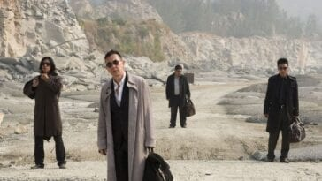 The four hitmen in the Johnnie To movie Exiled alone in the desert