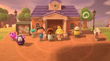 My character stands with the villagers of my Animal Crossing island during a ceremony.