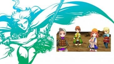 Final Fantasy III logo and four chibi art style heroes