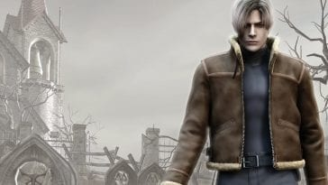 Leon Kennedy standing by a grave.