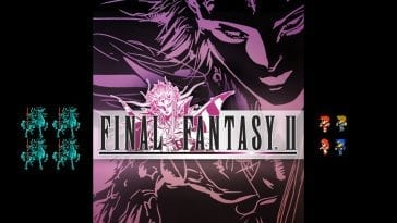 Box art for Final Fantasy II on the PSP with 8 bit characters on the sides.