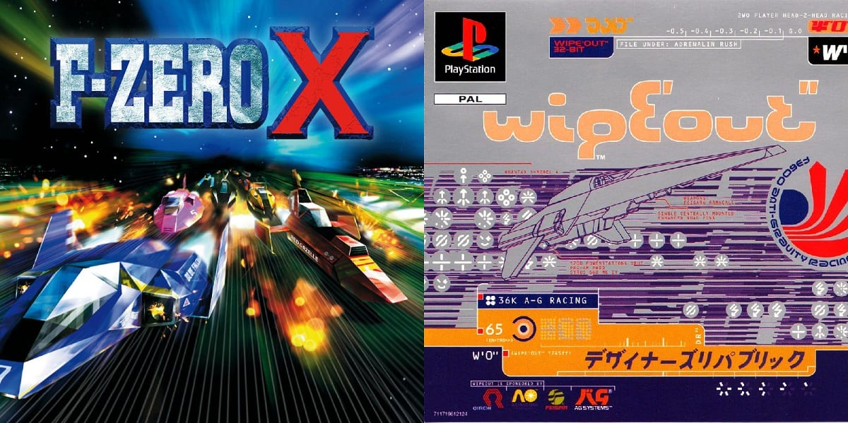 F-Zero X and Wipeout Box Art.