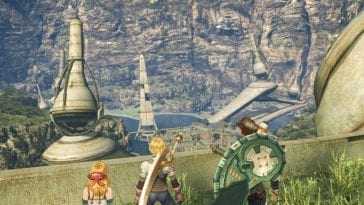 Shulk, Reyn, and Fiora look down at their home.