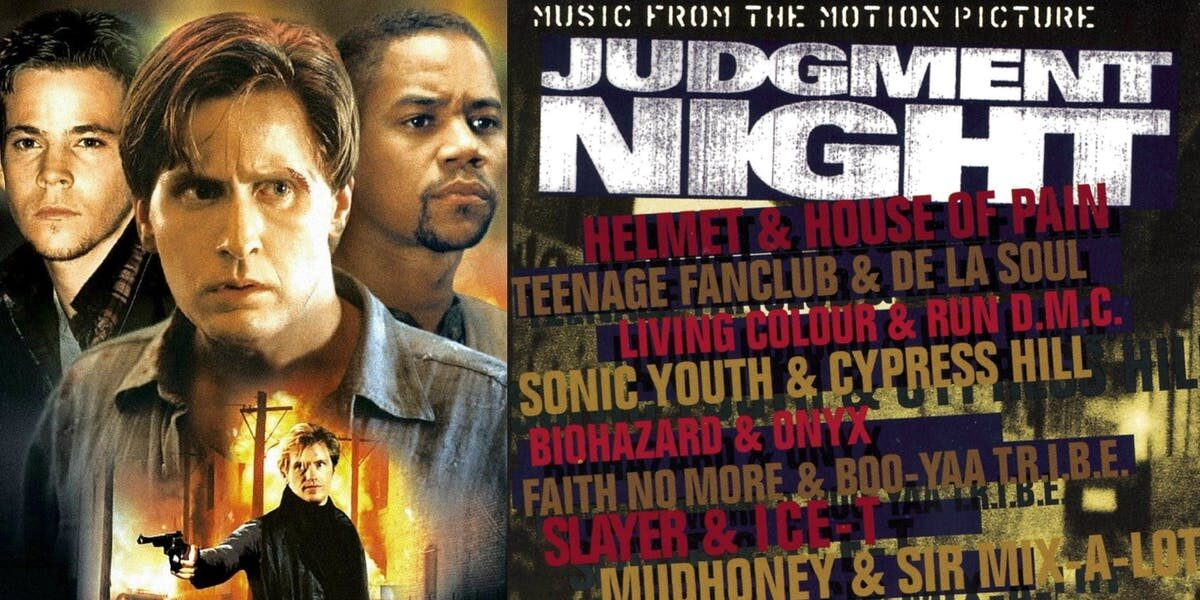 A cover of the soundtrack to Judgment Night featuring the cast and list of bands on the album.