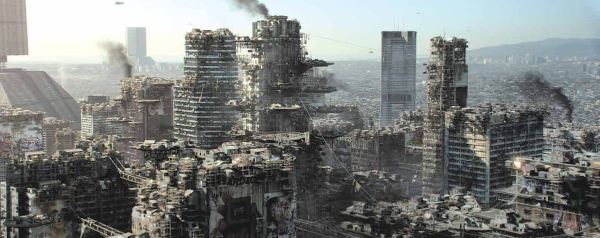 A futuristic skyline of Los Angeles, the skyscrapers are nothing more than smoking ruins