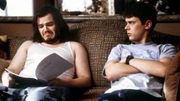 Jack Black and Colin Hanks on sofa in Orange County