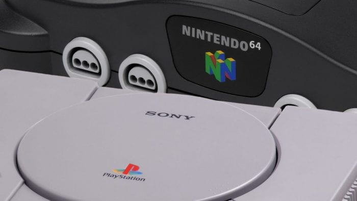 A picture of a Playstation and an N64.