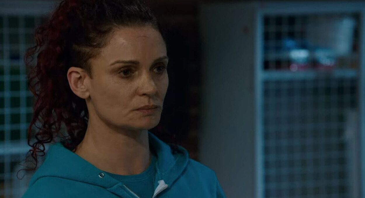 Bea Smith (Danielle Cormack) fighting back her emotions in a scene from Wentworth.