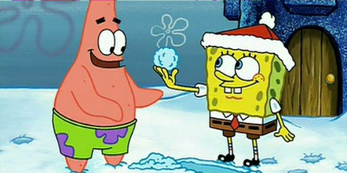 SpongeBob holding up a perfect snowball for Patrick, who looks happy with Squidward's house in the background