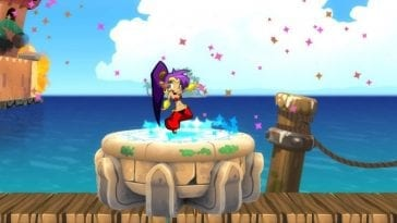Shantae, the young purple haired genie celebrates a completed level.