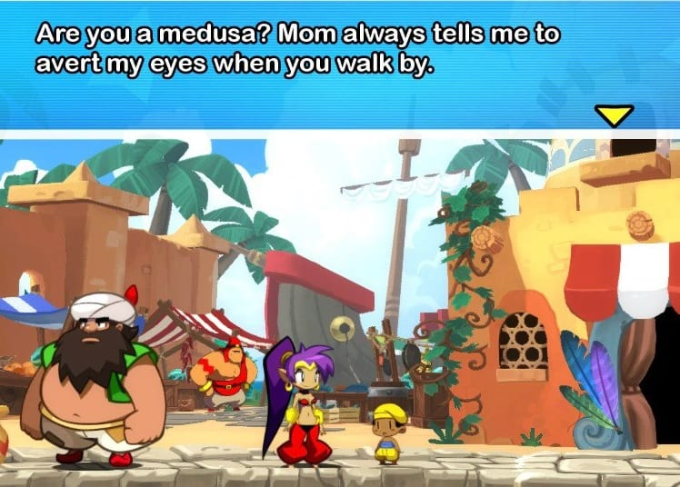 Young boy tells Shantae his mom tells him to avert his eyes when she is around. He suspects she is Medusa, but his mom is mostly referencing Shantae's outfit.