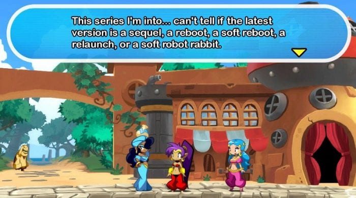 A character makes a meta comment about not knowing if the current entry in a series she follows is a remake or not, much like this game.