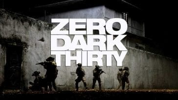 Film's title with a posed scene behind it. Text in large white letters