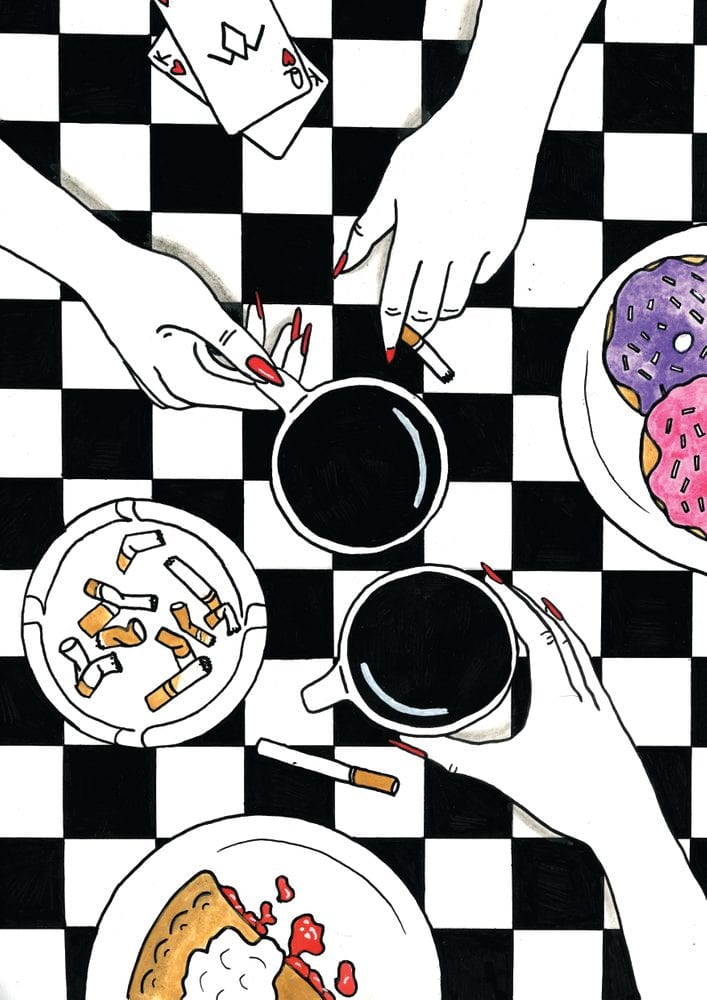 A Twin Peaks art illustration of women's hands holding cigarettes and coffee with an ashtray, donuts, and pie on a black and white checkered background