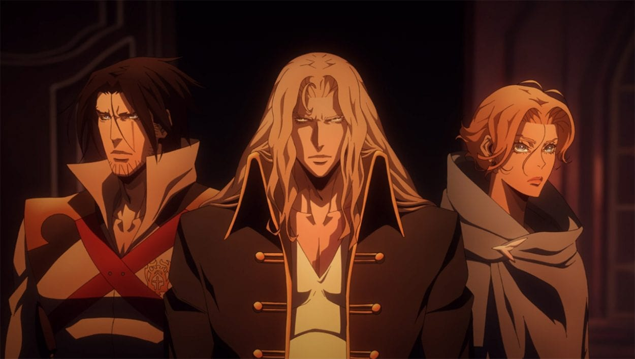 Trevor Belmont, Alucard AKA Adrien Tepes, and Sypha Belnades stand in a row ready for action