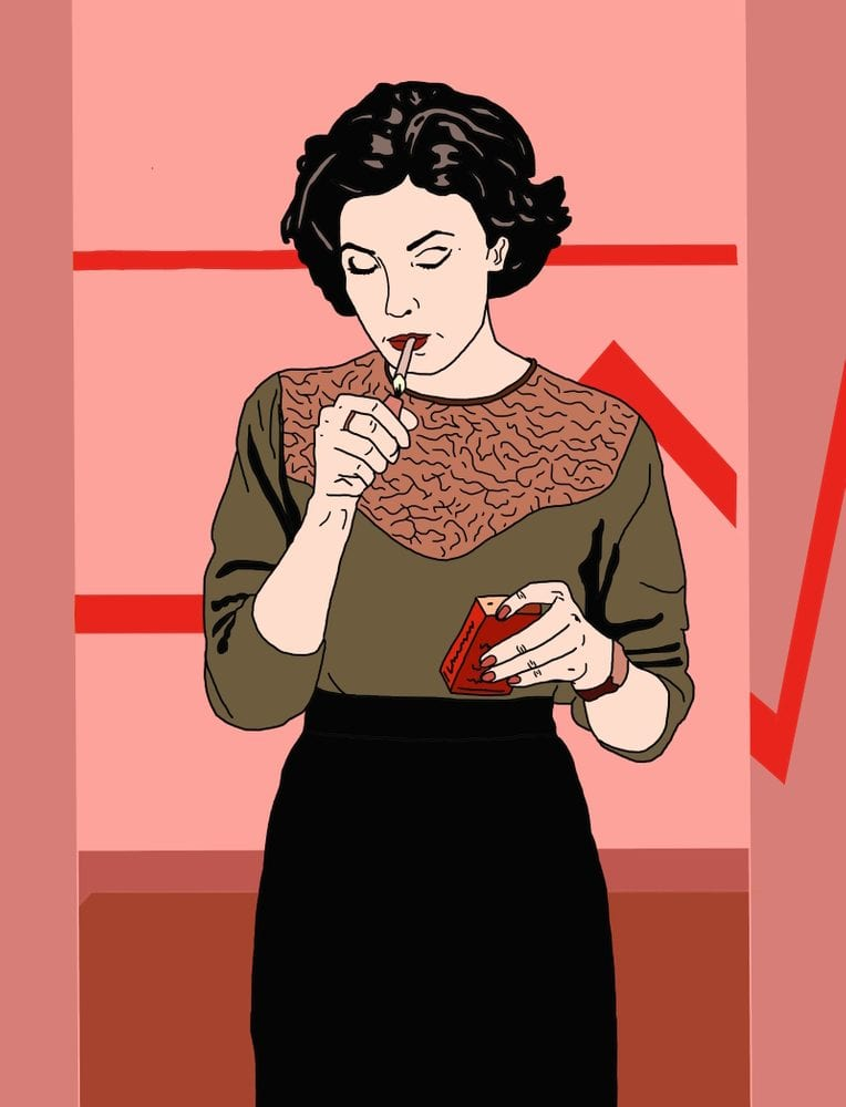Twin Peaks art illustration of Audrey Horne lighting a cigarette in the high school bathroom