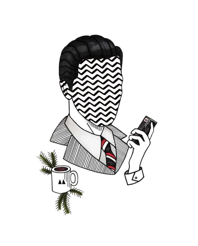 Twin Peaks art of Agent Cooper holding tape recorder with a cup of coffee next to him and a face like the floor of the black lodge