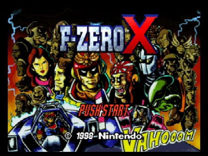 The title screen from F-Zero X