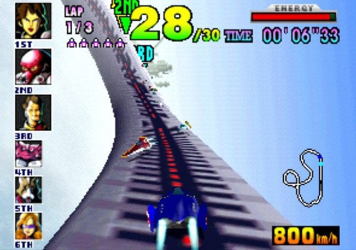 A race on the Big Blue course in F Zero X.
