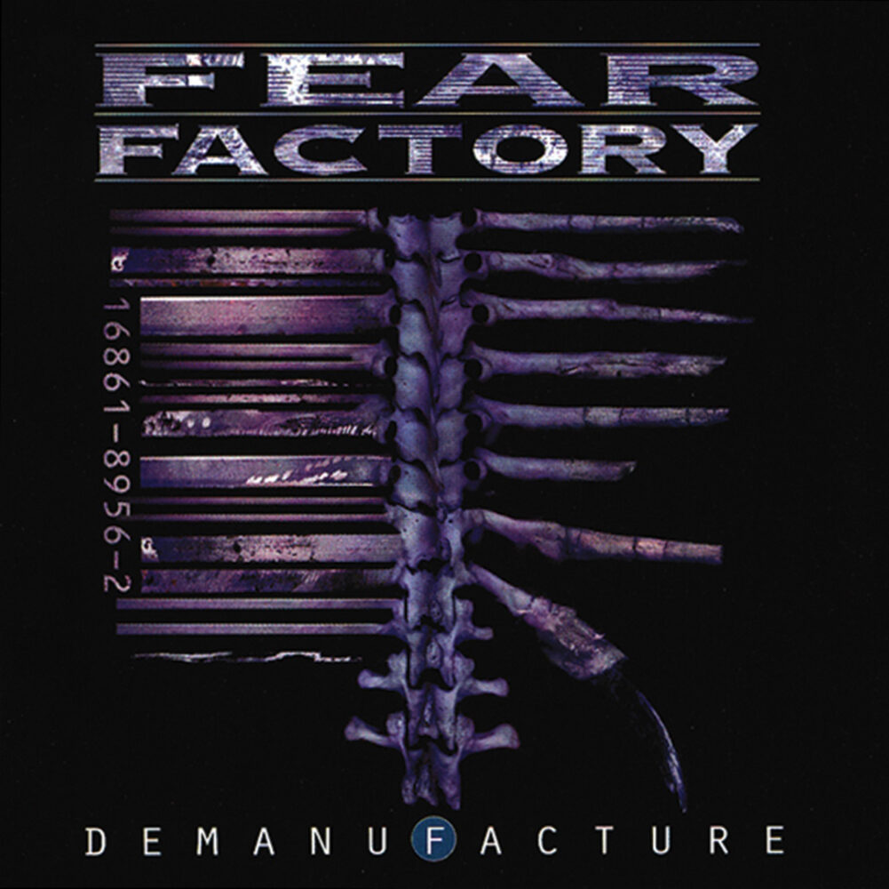 All in purple hues, we have sharp metalic letters saying Fear Factory, above a spine with ribs that are falling apart on the right and formed into a wall on the left.