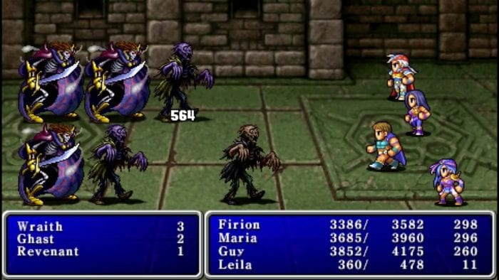 The party fights a bunch of undead enemies in one of the more recent ports of Final Fantasy 2