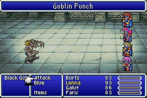 A grossly overpowered team of Blue Mages confronts a lowly Goblin