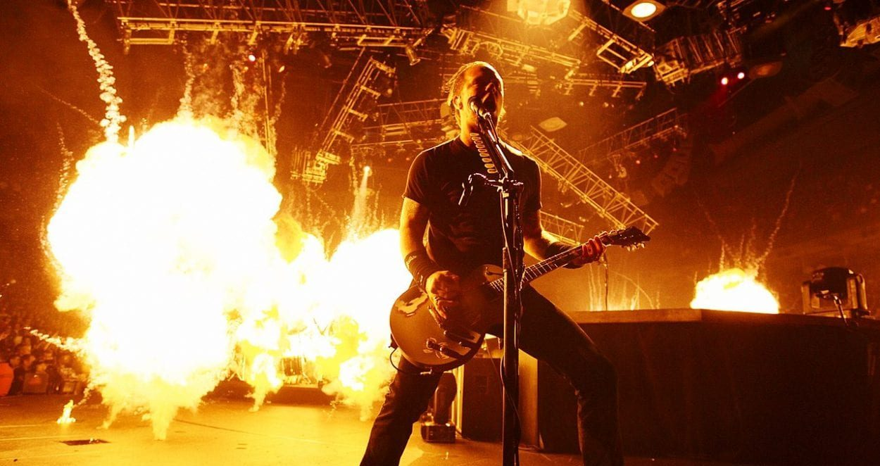 James Hetfield of Metallica surrounded by pyrotechnics