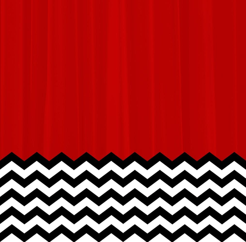twin peaks art design of red room curtains and black and white chevron floor