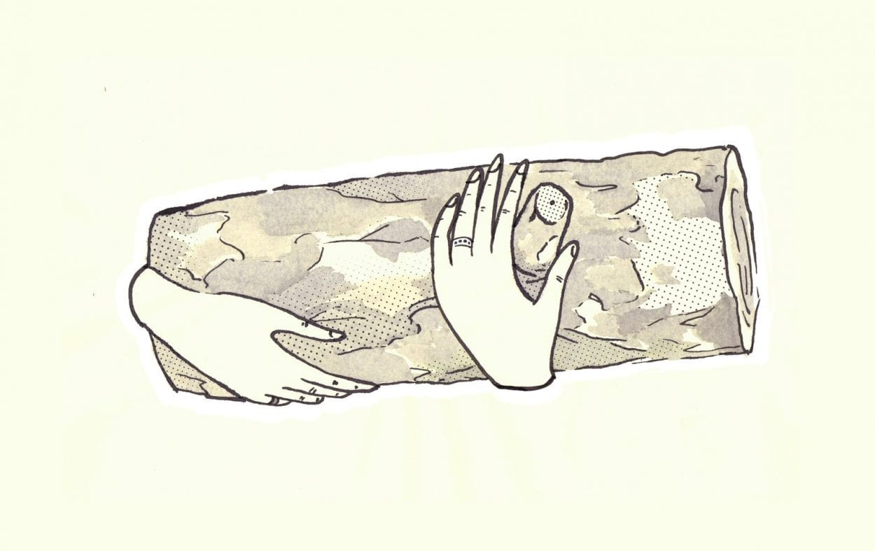 Twin Peaks art illustration of hands holding the log