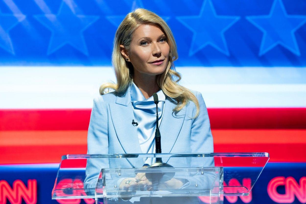 Georgina (Gwyneth Paltrow) during a political debate in Netflix's The Politician