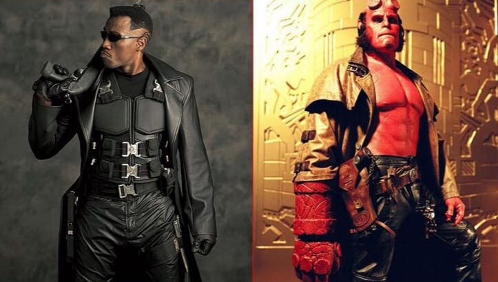 A split screen photo with Blade on the left dressed enrirely in black leather and body armour holding a shot gun and Hhellboy on the right dressed in a brown overcoat and black leather trousers with his sidearm in its holster.
