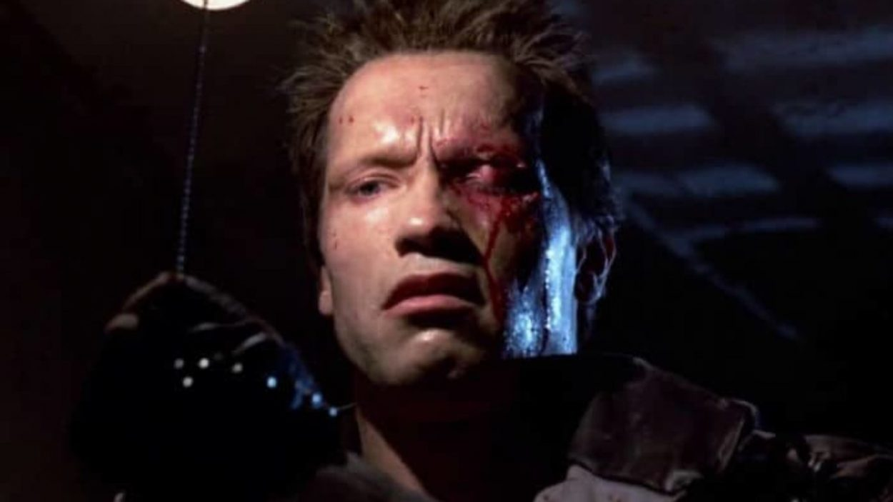The terminator looks perturbed with a bloody and swollen eye.