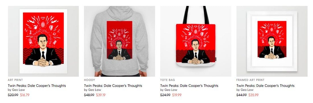 4 pieces of merchandise featuring geo law's art