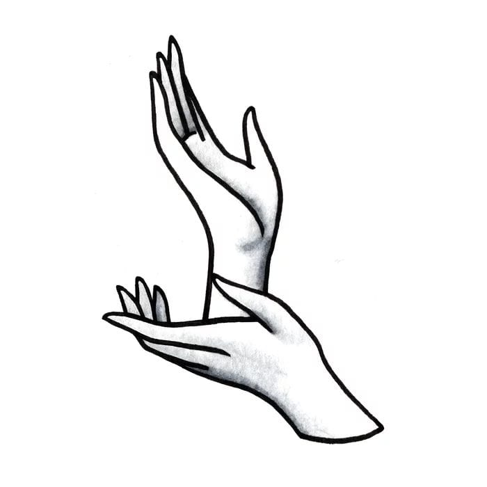 Twin Peaks art llustration blak and white Laura's hands