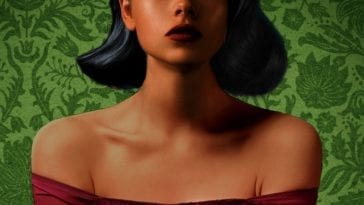 Cropped image of book cover for Mexican Gothic depicting portrait of young woman visible from her nose down with green patterned background.