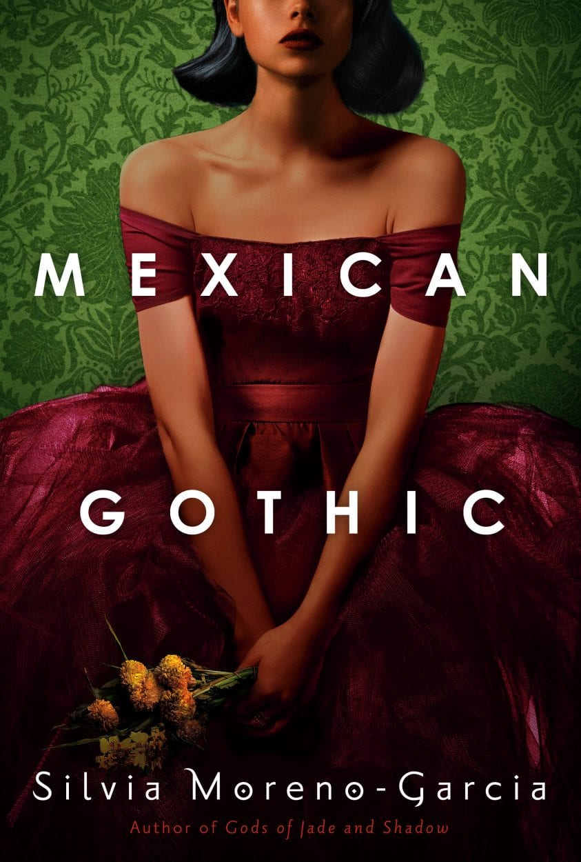 Book cover for Mexican Gothic with baroque style portrait of young woman in crimson dress holding flowers with face visible from nose down.