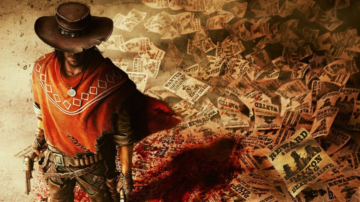 Protagonist Silas Greaves stands on top a pile of wanted posters with pistols drawn. His shadow is a bloodstain.