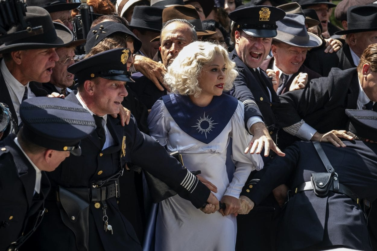 Sister Alice surrounded by cops