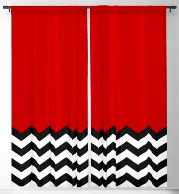 blackout curtains with the red room curtain and floor design on them