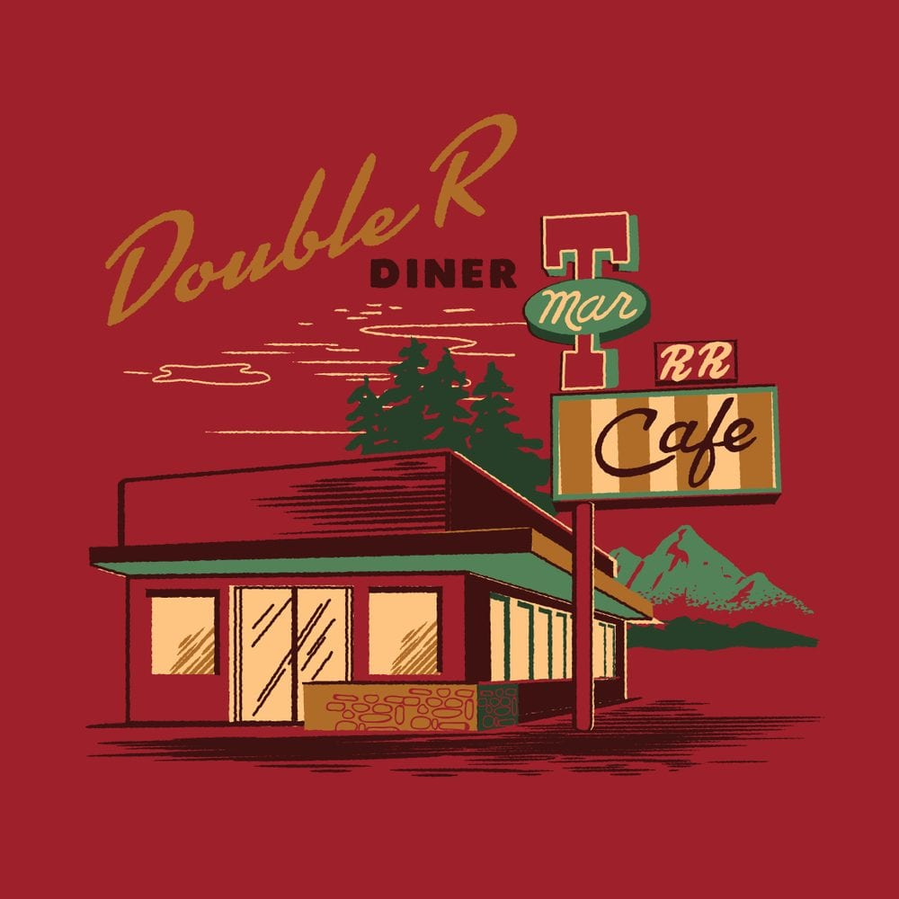 Twin Peaks art of the exterior of the Double R Diner by Steven Rhodes