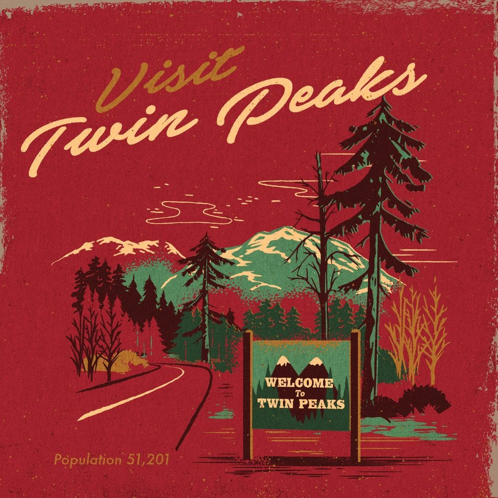 Art depicting the Welcome sign and road into Twin Peaks with Visit Twin Peaks at the top