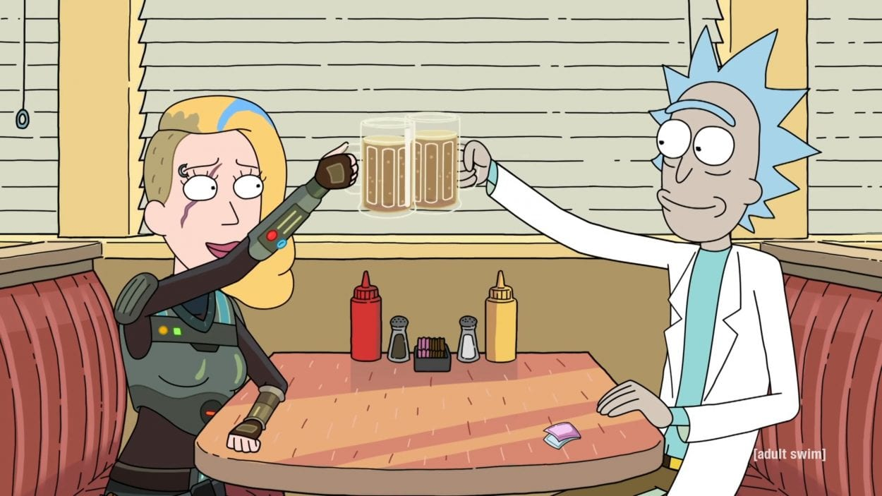 Rick and Cyborg Beth clink beer mugs at a diner.