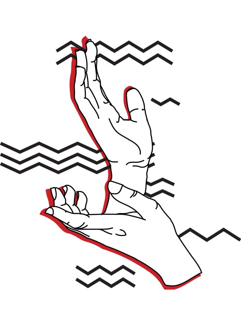 Twin Peaks art illustrating Laura's hands in black white and red