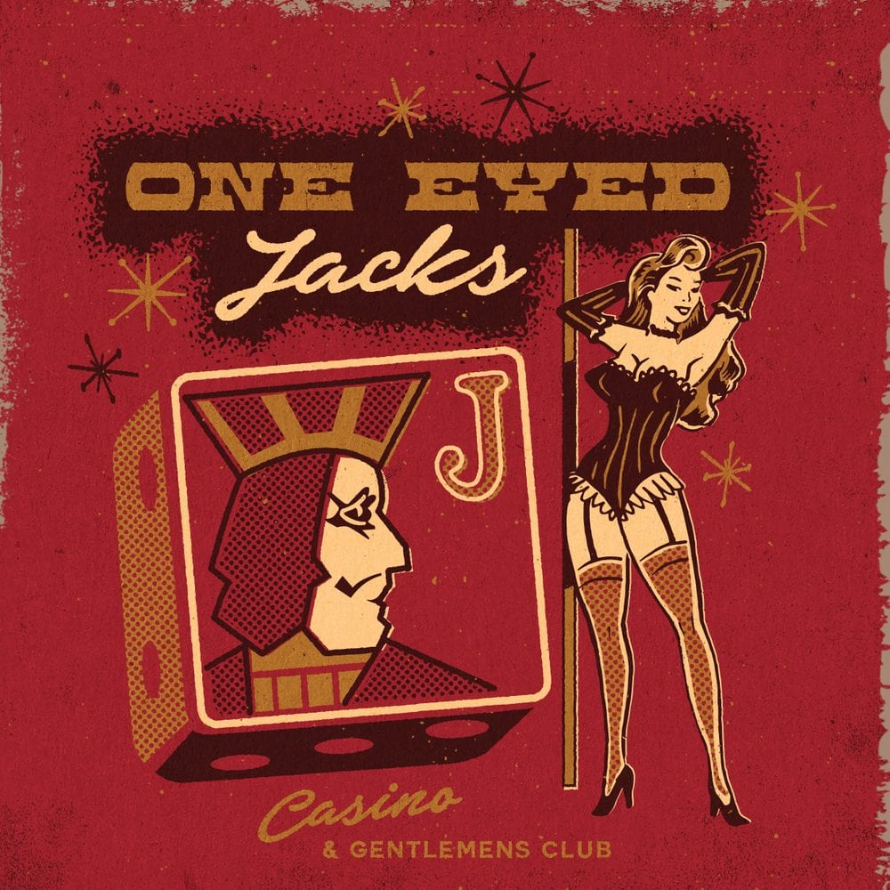 Twin Peaks art illustration of a One Eyd Jacks lady next to the Jacks sign with One Eyed Jacks written above and a red background