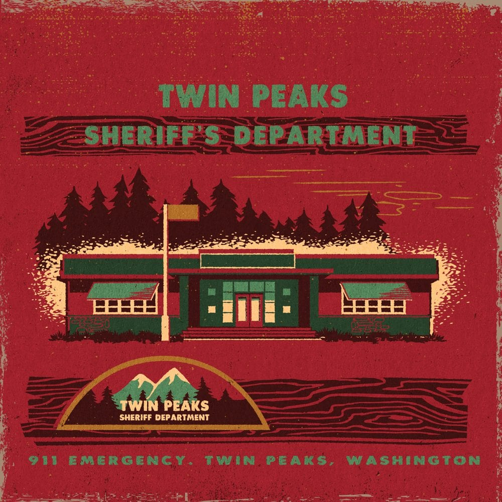 Twin Peaks art illustration of the Twin Peaks Sheriff's Department exterior