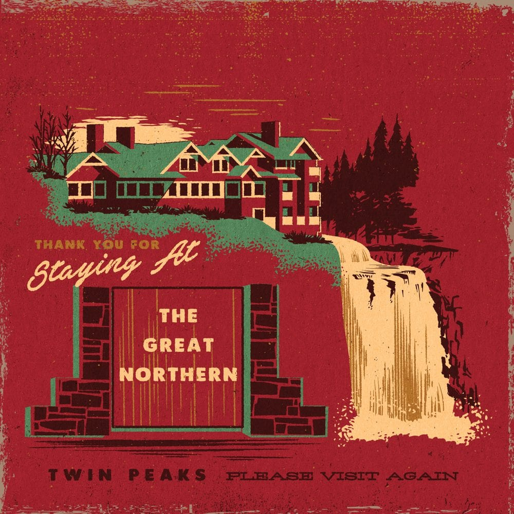 Twin Peaks art illustration of the exterior of the Great Northern and the falls by Steven Rhodes