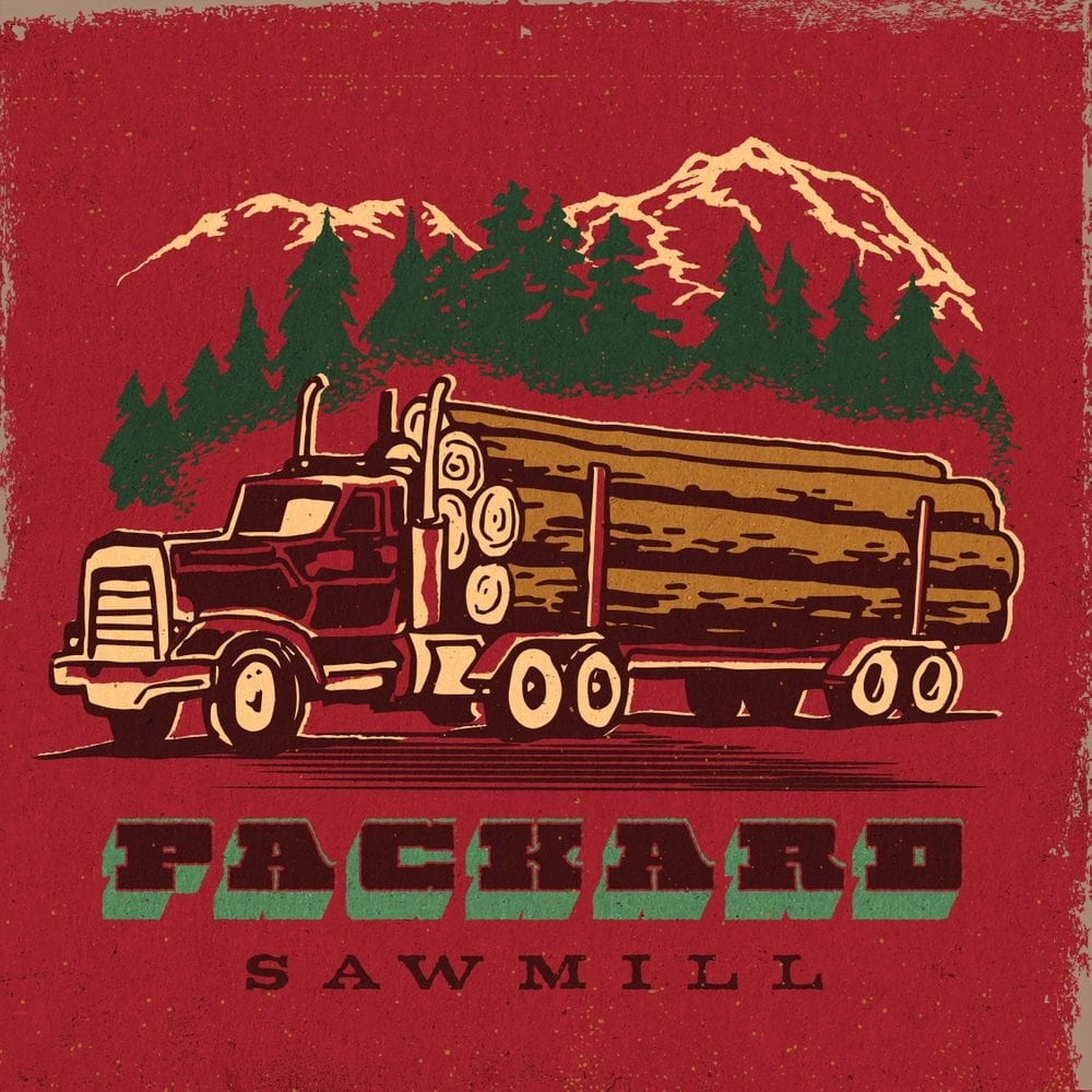 Twin Peaks art illustration of logging truck with trees and mountains in the background with Packard Saw Mill written at the bottom