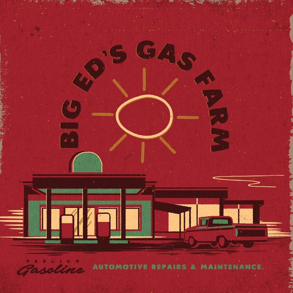 A Twin Peaks art illustration of Big Ed's Gas farm exterior